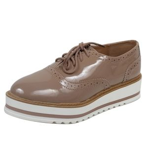Shoes - Natural Oxford White Sole Flatform Shoes